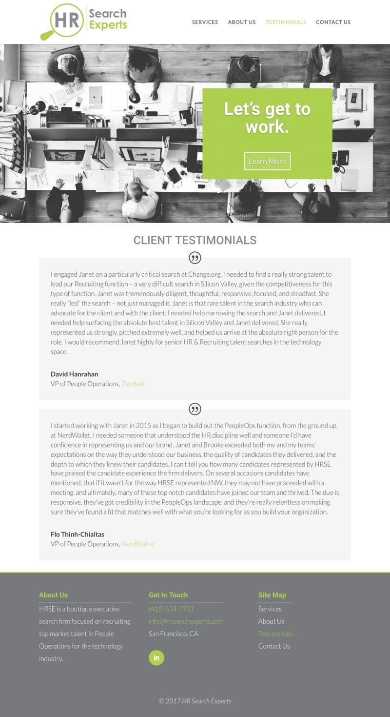 HR Search Experts Website - Testimonials