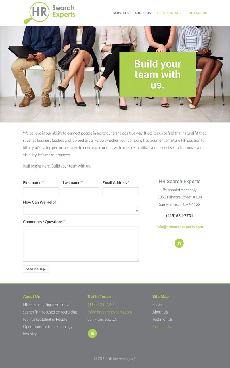 HR Search Experts Website - Contact