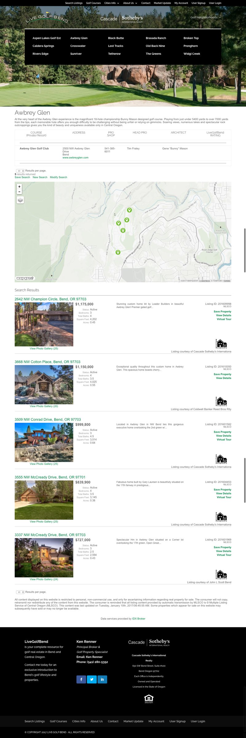 Live Golf Bend Real Estate Website Community