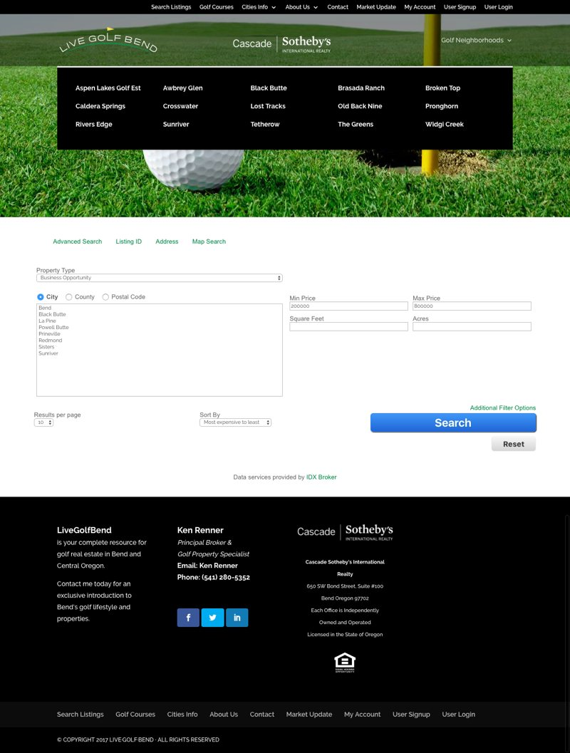 Live Golf Bend Real Estate Website Property Search