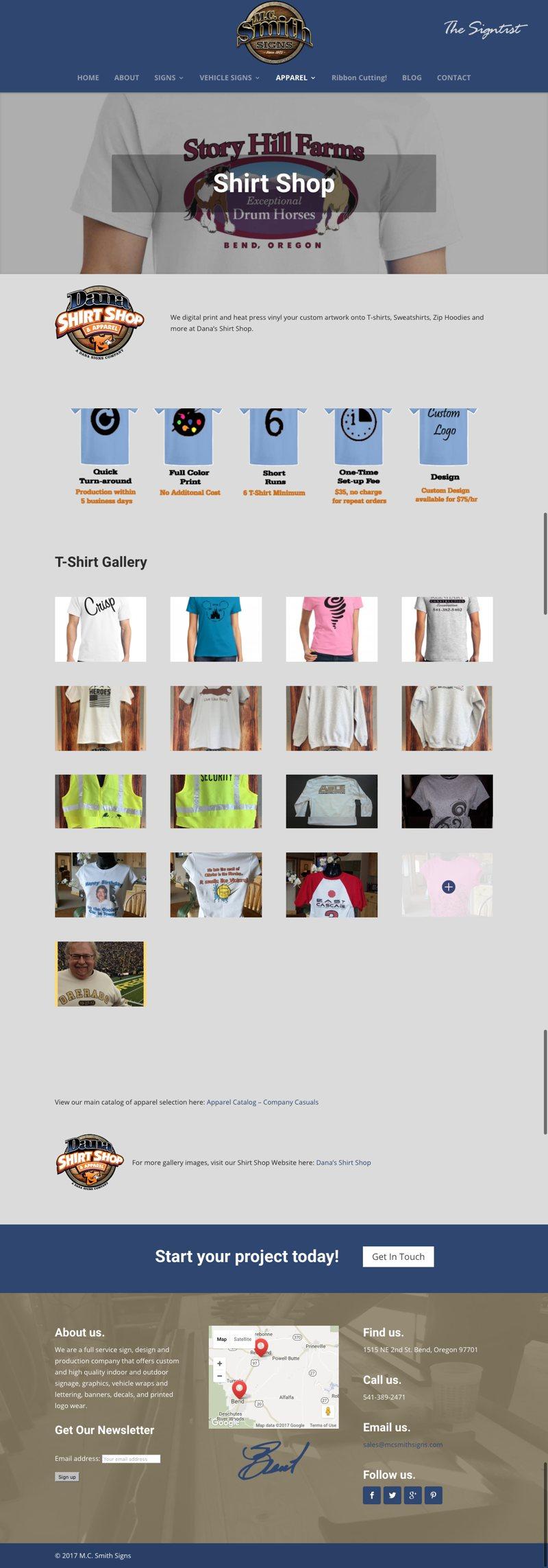 MC Smith Website Shirt Shop