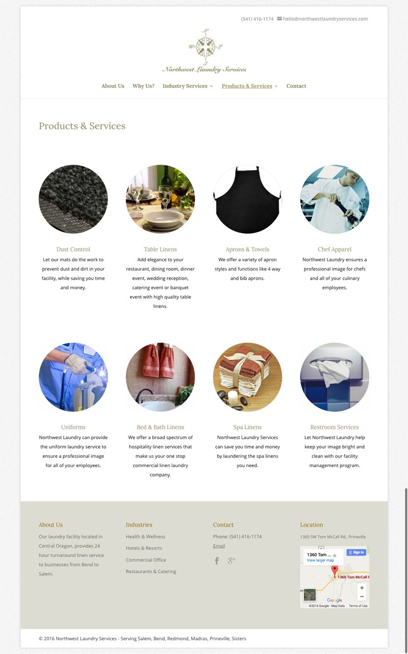 Northwest Laundry Services Website Products